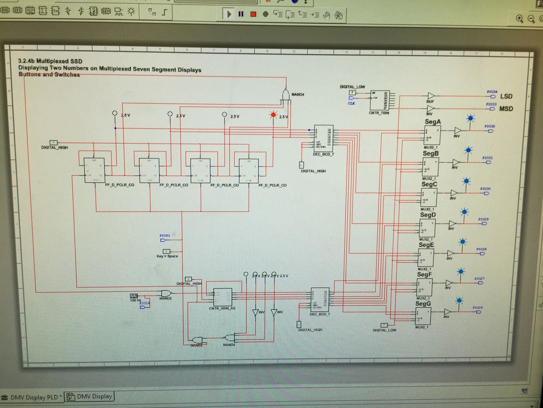 Dmv Display Engineering Circuit Diagram With 7 Segment Project There Were Many Differences In The Design Mode Right And Pld Left Instead Of Displays On Are Multiplexxed
